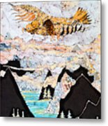 Golden Eagle Flies Above Clouds And Mountains Metal Print by Carol  Law Conklin