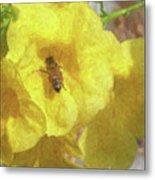 Golden Elder And Bee Metal Print