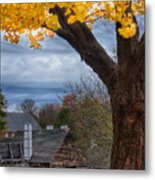 Golden Fall Colors Over Iron Works Metal Print
