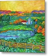 Golden Farm Scene Sketch Metal Print