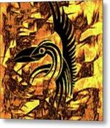 Golden Flight Contemporary Abstract Metal Print