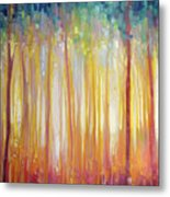 Golden Forest Hidden Unicorn - Large Original Oil Painting By Gill Bustamante Metal Print