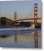 Golden Gate And Waves Metal Print
