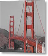 Golden Gate Black And White Metal Print