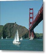 Golden Gate Bridge And Sailboats Metal Print