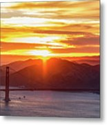 Golden Gate Bridge And San Francisco Bay At Sunset Metal Print
