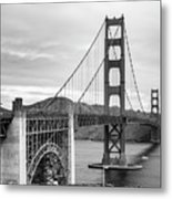 Golden Gate Bridge Black And White Metal Print