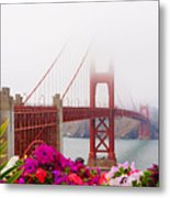 Golden Gate Bridge Flowers 2 Metal Print