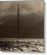 Golden Gate Bridge In The Fog, Black And White, San Francisco, California Metal Print