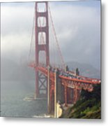 Golden Gate Bridge In The Fog Metal Print