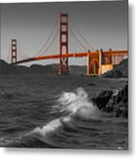 Golden Gate Bridge Sunset Study 1 Bw Metal Print