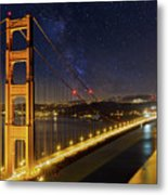 Golden Gate Bridge Under The Starry Night Sky Metal Print