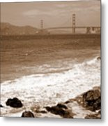 Golden Gate Bridge With Shore - Sepia Metal Print