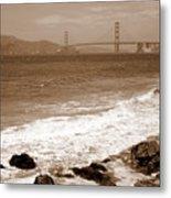 Golden Gate Bridge With Shore - Sepia Metal Print