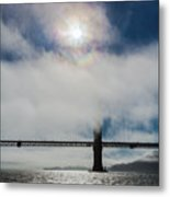 Golden Gate Silhouette And Rainbow Metal Print