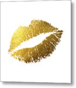 Gold Lips Metal Print