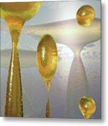 Golden Globs Metal Print