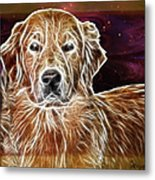 Golden Glowing Retriever Metal Print