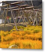 Golden Gras And Fish Drying Rack Metal Print by Heiko Koehrer-Wagner