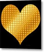 Golden Heart Black  Metal Print