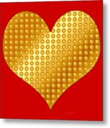Golden Heart Red Metal Print