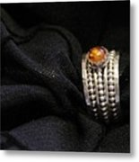 Golden Honey Baltic Amber And Stackable Sterling Silver Bold Rings Metal Print