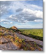 Golden Hour Light On Turkey Peak And Prickly Pear Cacti - Enchanted Rock Fredericksburg Hill Country Metal Print