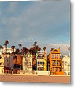 Golden Hour Panorama Of Santa Monica Condos And Bungalows - Los Angeles California Metal Print