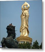 Golden Kwan Yin Metal Print by Melissa Stinson-Borg
