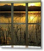 Golden Lake Bay Picture Window View Metal Print