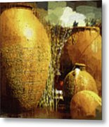 Golden Large Fountain Urns Metal Print