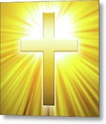 Golden Latin Cross With Sunbeams Metal Print