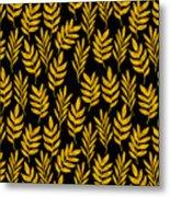 Golden Leaf Pattern Metal Print