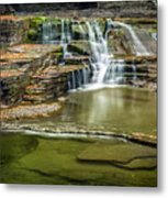 Golden Leaves And Mossy Tiers Of Enfield Glen Waterfall Metal Print