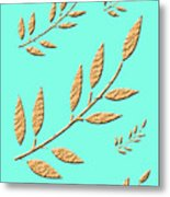 Golden Leaves On Aqua Metal Print