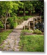 Golden Light On Footbridge Japanese Garden Maymont Metal Print