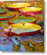 Golden Light On Pond Metal Print