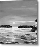 Golden Lighthouse Sunset In Black And White Metal Print