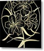 Golden Lilies Metal Print