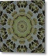 Mandala In Pewter And Gold Metal Print