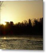 Golden Mississippi River Sunrise Metal Print
