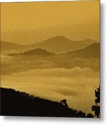 Golden Morning Above The Clouds Metal Print