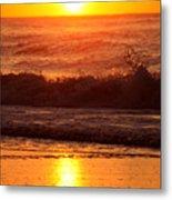 Golden Ocean City Sunrise Metal Print