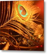 Golden Peacock Feather Metal Print