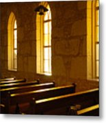 Golden Pews Metal Print