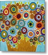 Golden Pot Of Blooms Metal Print