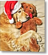 Golden Retriever Dog Christmas Teddy Bear Metal Print