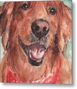 Golden Retriever Dog In Watercolori Metal Print