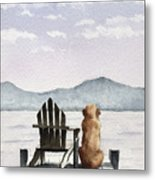 Golden Retriever On The Dock Metal Print
