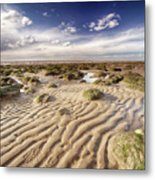 Golden Sand Lines And Seaweed Rocks Of Norfolk Metal Print